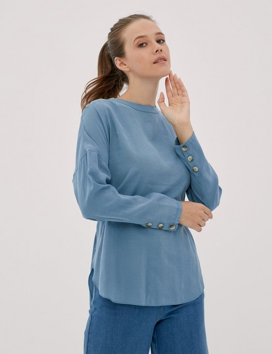 KAYRA - Omuzu Düğme Detaylı Bluz-İndigo
