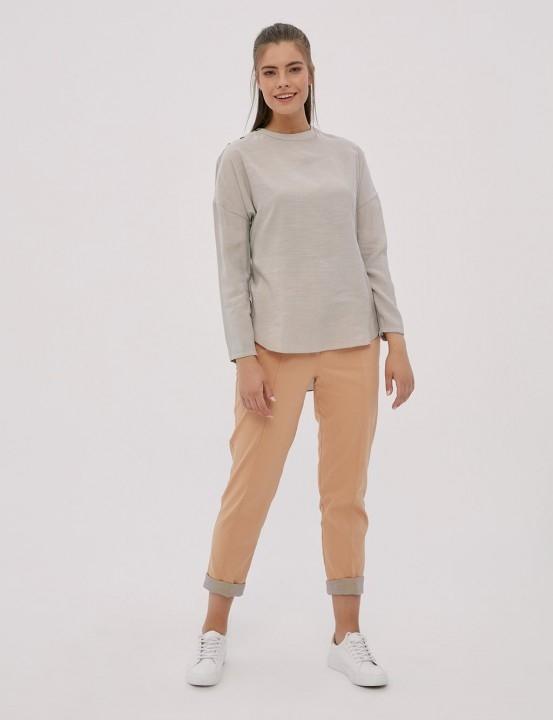 KAYRA - Omuzu Düğme Detaylı Bluz--Taş Rengi
