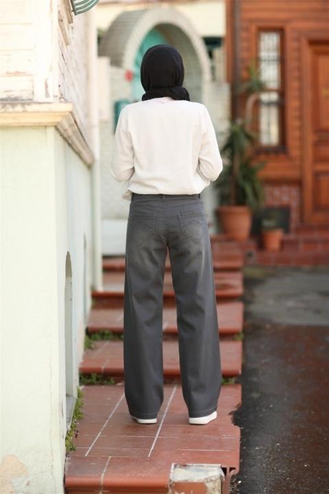Bol Paça Kot Pantolon-Koyu Gri - Thumbnail