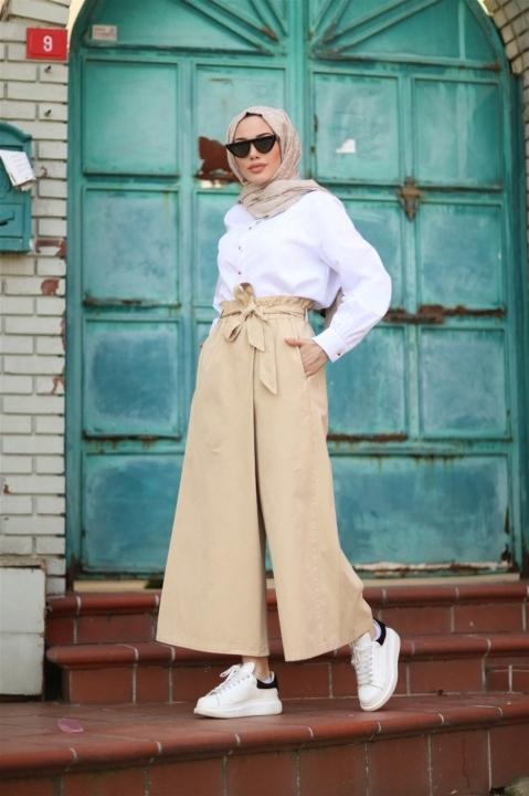 NEWAYS - Beli Lastikli Pantolon Etek-Açık Bej