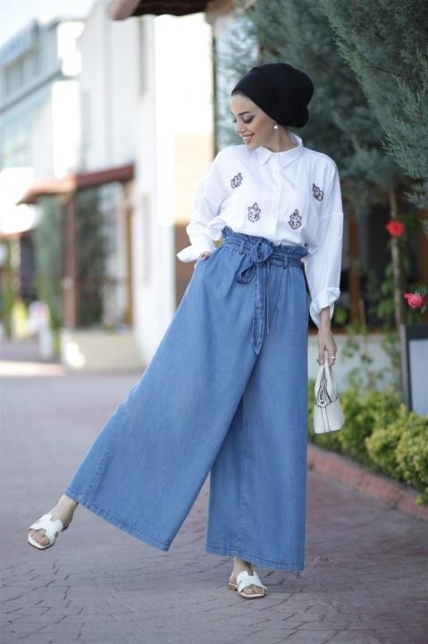 NEWAYS - NEWAYS Beli Lastikli Pantolon Etek Açık Mavi