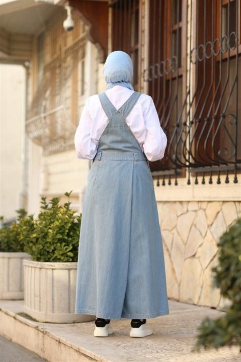 Salopet Pantolon Etek-Açık Mavi