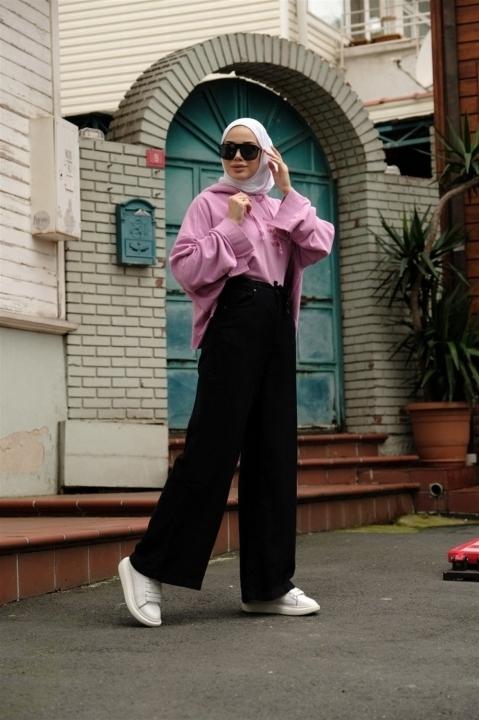 NEWAYS - Belden Bağcıklı Pantolon Siyah