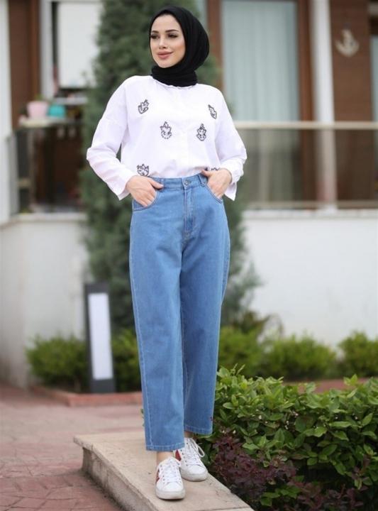 NEWAYS - NEWAYS Mom Jeans Pantolon Açık Mavi