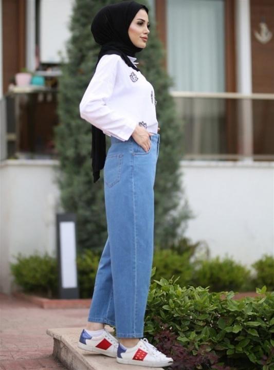 NEWAYS Mom Jeans Pantolon Açık Mavi