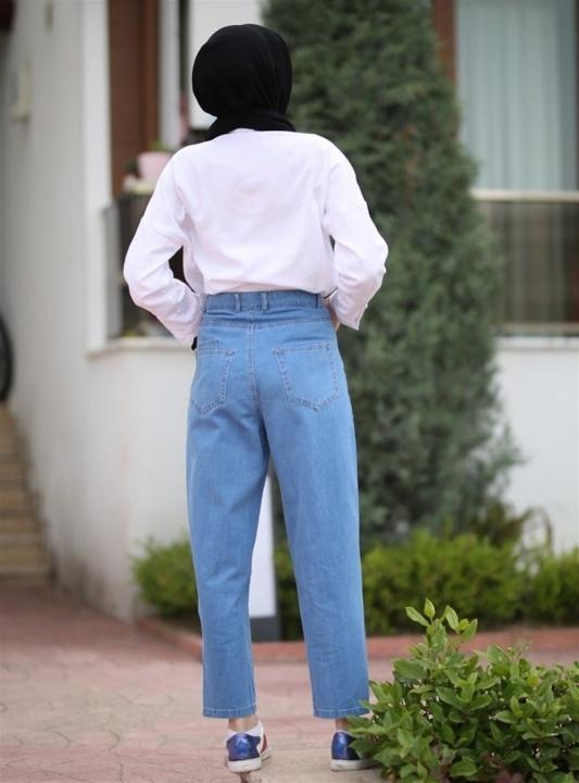 NEWAYS Mom Jeans Pantolon Açık Mavi - Thumbnail