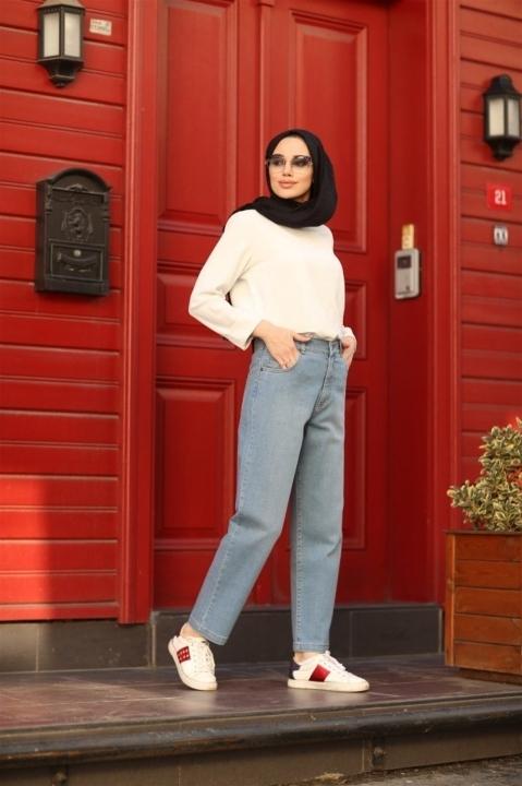 NEWAYS - NEWAYS Mom Jeans Pantolon-Buz Mavi