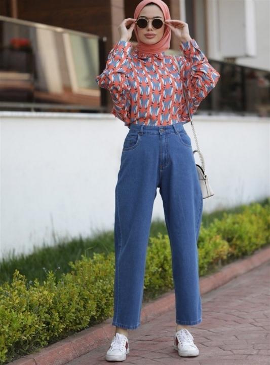 NEWAYS - NEWAYS Mom Jeans Pantolon Koyu Mavi