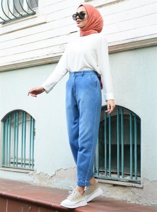 NEWAYS - NEWAYS Paçası Pensli Pantolon Açık Mavi