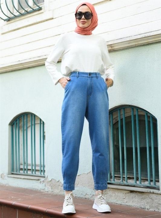 NEWAYS Paçası Pensli Pantolon Açık Mavi