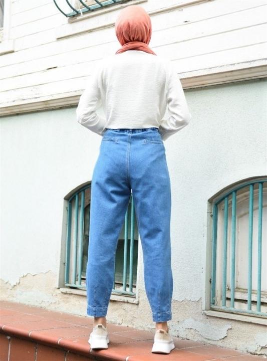 NEWAYS Paçası Pensli Pantolon Açık Mavi - Thumbnail