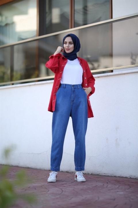 NEWAYS - NEWAYS Paçası Pensli Pantolon Koyu Mavi