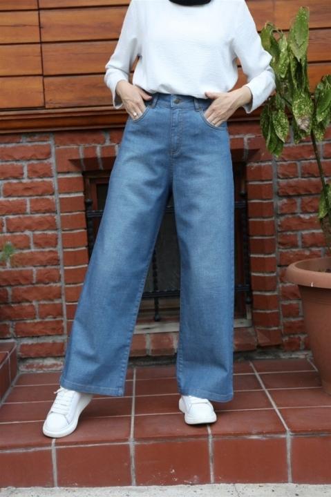 NEWAYS Yüksek Bel Kot Pantolon Koyu Mavi