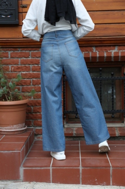 NEWAYS Yüksek Bel Kot Pantolon Koyu Mavi - Thumbnail
