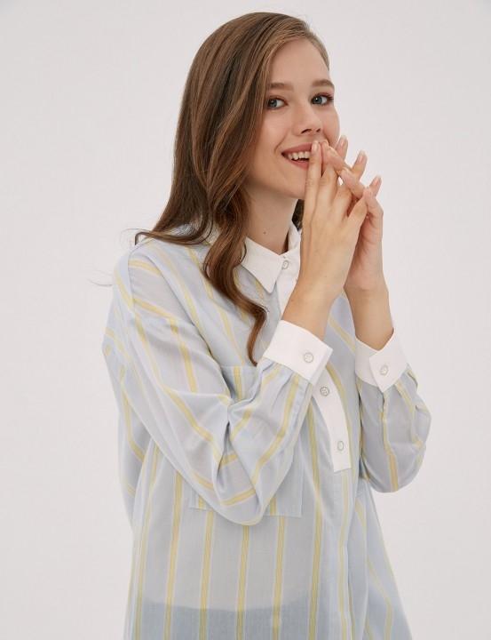 KAYRA - Çizgili Gömlek Yaka Tunik-Mavi