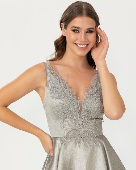 Önü Kısa Arkası Uzun Yaka Detaylı Jakarlı Elbise-Taş - Thumbnail