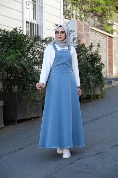 Mevlena Püsküllü Salopet Etek - Mavi
