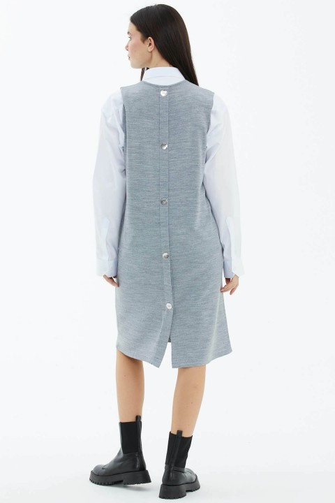 V Yaka Kolsuz Arkası Düğmeli Triko Elbise-Gri - Thumbnail