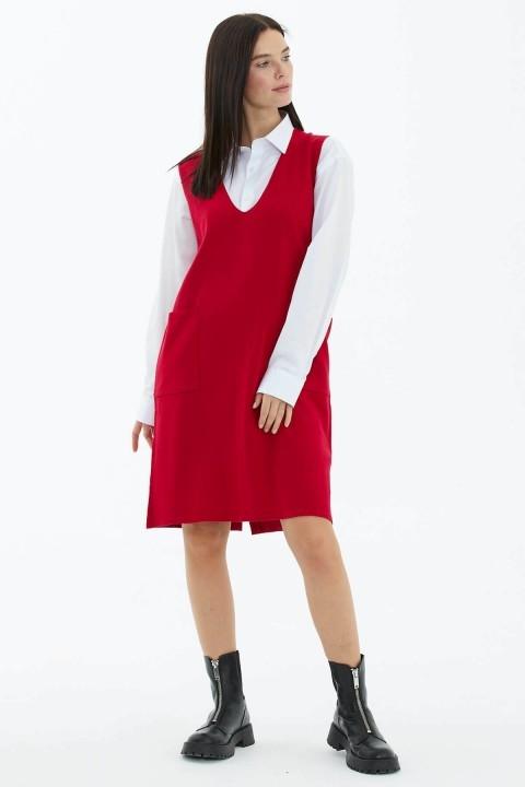 V Yaka Kolsuz Arkası Düğmeli Triko Elbise-Kırmızı - Thumbnail