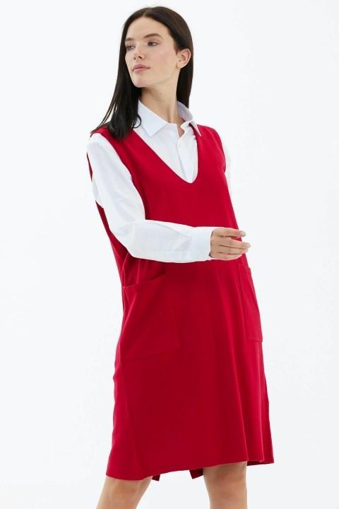Sementa - V Yaka Kolsuz Arkası Düğmeli Triko Elbise-Kırmızı