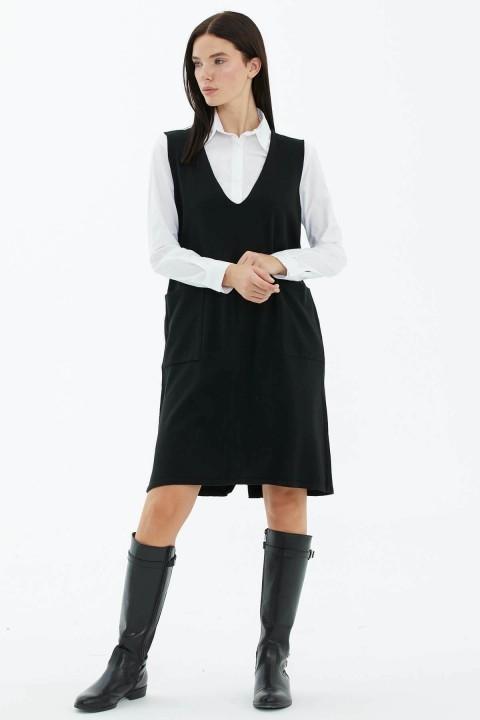 Sementa - V Yaka Kolsuz Arkası Düğmeli Triko Elbise-Siyah