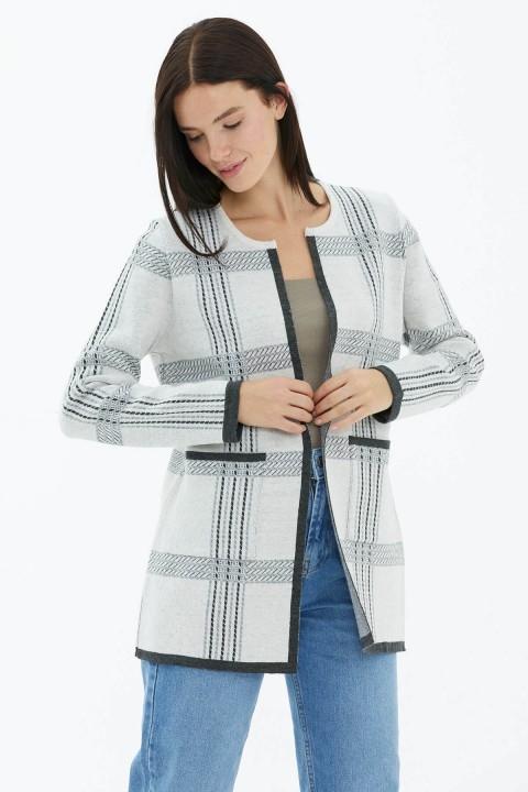 Sementa - Sıfır Yaka Cepli Triko Ceket-Beyaz