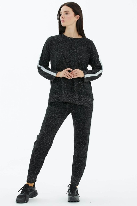 Sementa - Simli Triko Takım-Siyah