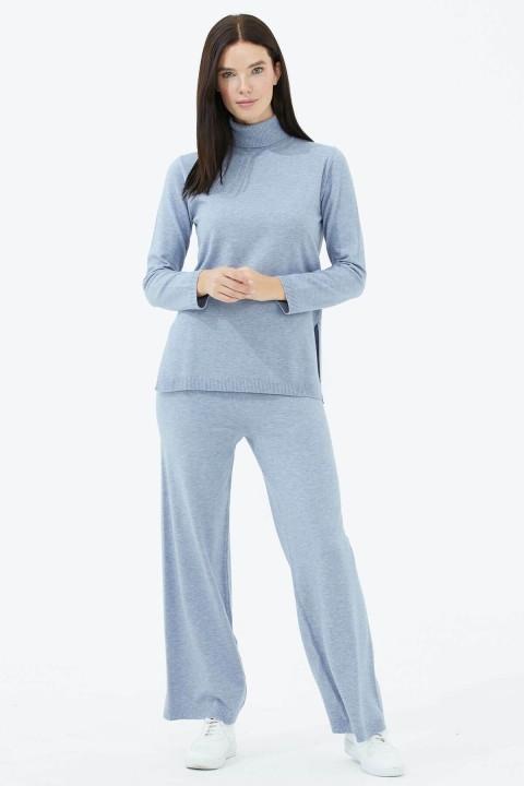 Sementa - Tam Balıkçı Yaka Kazak Pantolon Triko Takım-Mavi