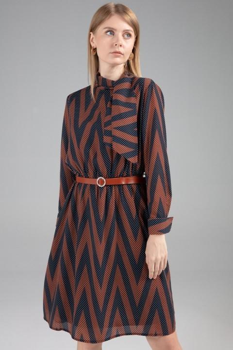 Journey - Dik Yakadan Bağlamalı Bel Kuşak Detaylı Elbise-Taba