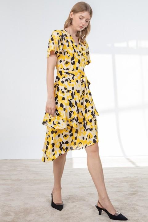 Journey - Kruvaze Düğme Detaylı Volan Kol Asimetrik Katlı Elbise-Sarı
