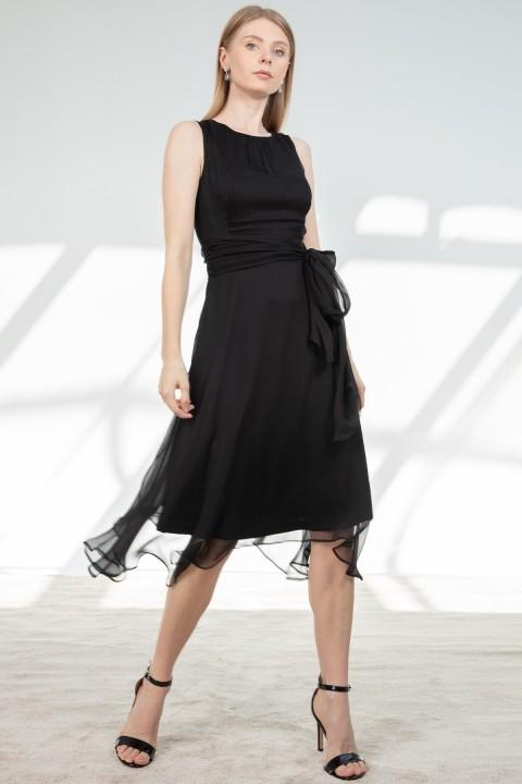 Journey - Sıfır Yaka Bel Üstü Drape Kuşak Detaylı Elbise-Siyah