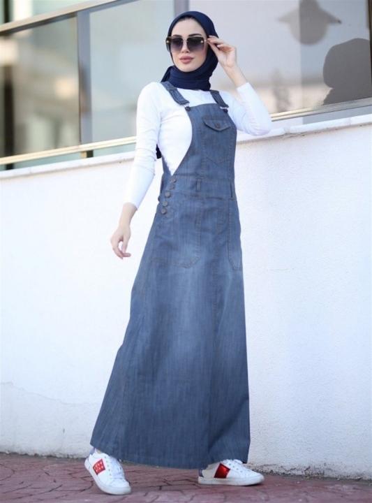 NEWAYS - NEWAYS Salopet Etekli Elbise Gri