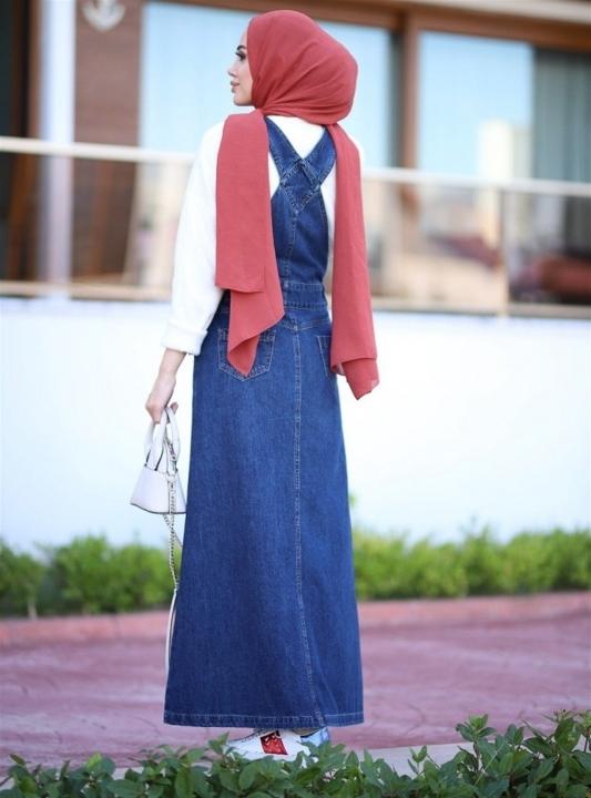NEWAYS Salopet Etekli Elbise Koyu Mavi - Thumbnail