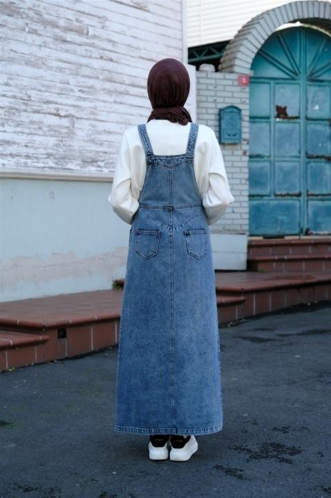 Yan Düğmeli Salopet - Koyu Mavi