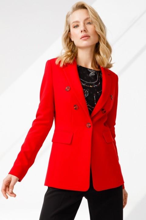 Ekol - Kapak Cepli Ceket-Kırmızı