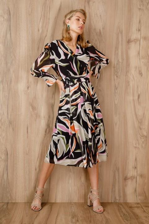 Ekol - Desenli Kruvaze Şifon Elbise-Siyah