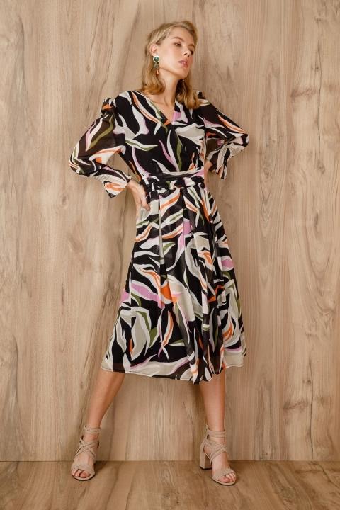 Desenli Kruvaze Şifon Elbise-Siyah