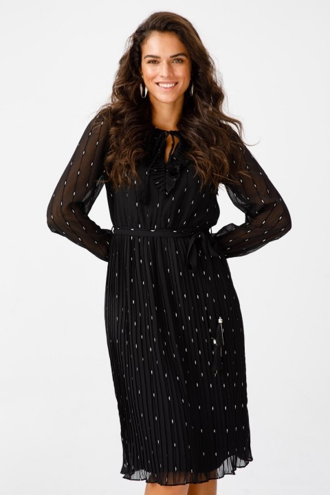 Ekol - Puantiyeli Bağcık Yaka Pliseli Elbise-Siyah