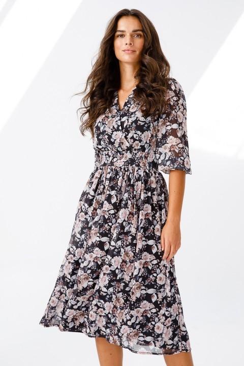 Ekol - Şifon Desenli Kruvaze Elbise-Siyah