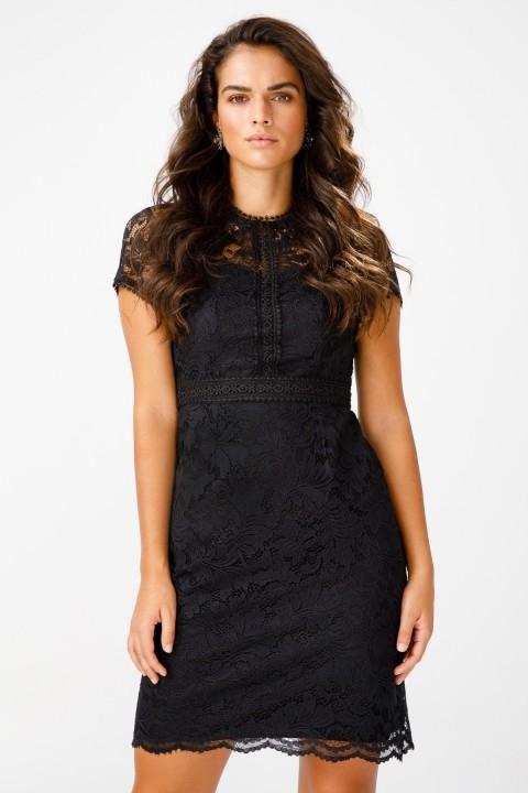 Ekol - Güpürlü Kısa Kol Elbise-Siyah