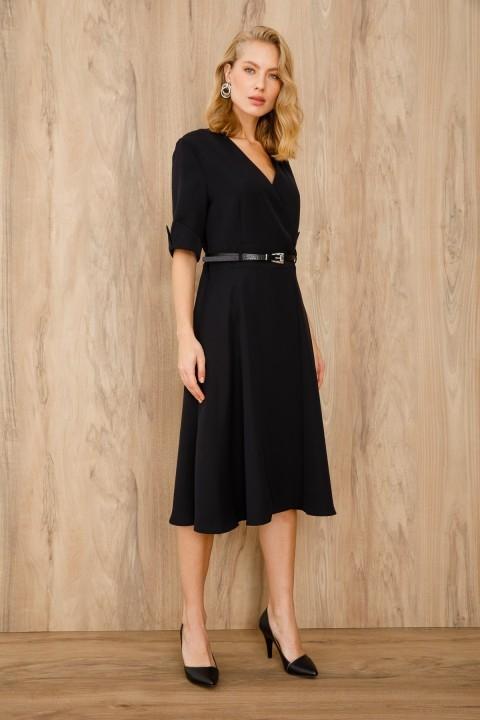 Ekol - Kruvaze Kemerli Elbise-Siyah