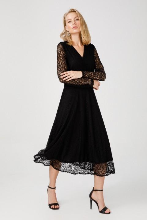Ekol - Dantelli V Yaka Elbise-Siyah