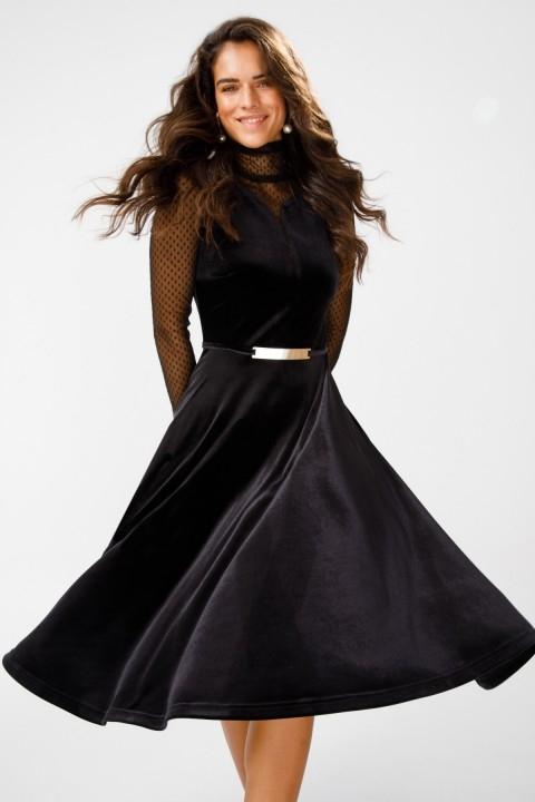 Ekol - Kolları Tül Detaylı Kadife Elbise-Siyah