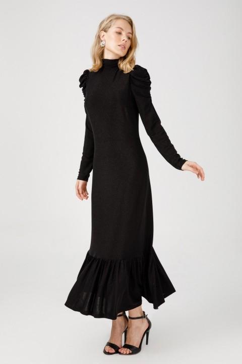 Ekol - Simli Dik Yaka Uzun Elbise-Siyah