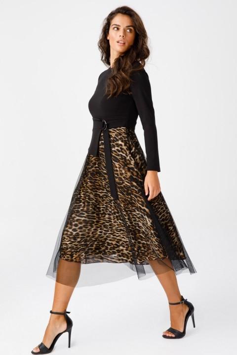 Ekol - Tül Detaylı Süs Kemerli Elbise-Leopar