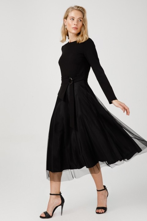 Ekol - Tül Detaylı Süs Kemerli Elbise-Siyah