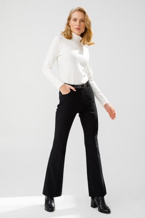 Ekol - Kemerli İspanyol Paça Pantolon-Siyah