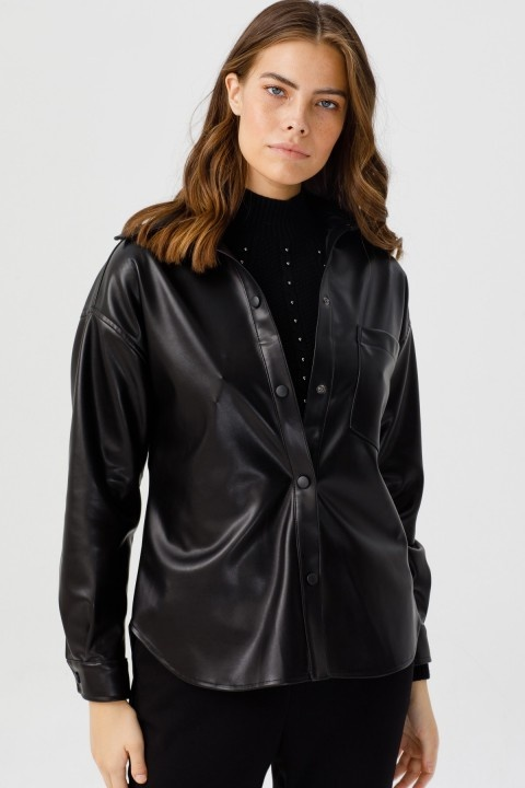 Ekol - Çıtçıtlı Deri Ceket-Siyah
