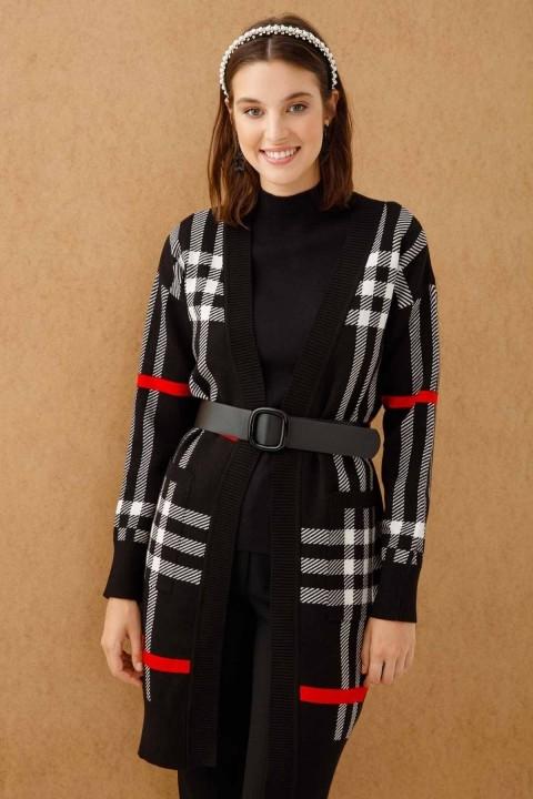 On Fashion - EKOSE DESEN BELİ KEMERLİ UZUN HIRKA-Siyah
