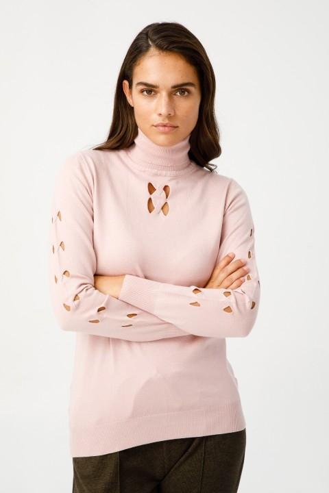 On Fashion - KOLU VE YAKA ORTASI SAÇ ÖRGÜ PENCERELİ BALIKÇI KAZAK-PUDRA